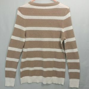 ALFRED SUNG Sweaters - Alfred Sung Brown & White Striped Sweater